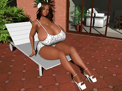 Pretty ebony 3d babe showing..
